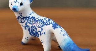 Gzhel Figurine Animal Miniature Totem Figurine Sculpture, Fantasy velvet clay an...