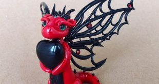 Obsidian Heart Clay Dragon Valentine's Dragon