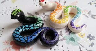 Two Rainbow Snakes. Handmade, Polymer Clay Reptile Figurines, Crafted by The Cla...
