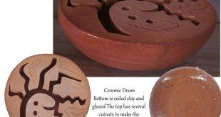 clay drum   Hand built red clay ceramic drum.   Artwork from Stonekoyote Design ...