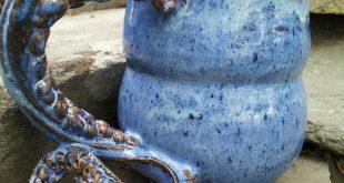Ceramic Tentacle Mug by Brady Candell.  Cone 6.  Brown Clay. Coyote Glazes.  Mot...