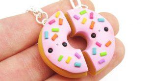 Kawaii Donut Best Friend Keychain, BFF Donuts, Friendship Food Necklace, Food Best Friend Necklaces, Bestie Keychains, Kawaii BFF Necklace