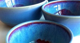 Made to order - Wheel Thrown Red And Blue  Nesting Bowls