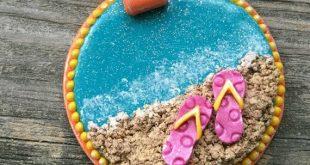 Beach, Flip Flops, Ocean, Sea, Summer, Polymer Clay, Pendant, Jewelry, Hand-Made, Unique Design