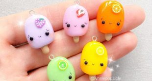 Kawaii Fruit popsicle charms, cute gift ideas, cute popsicle gifts, Polymer Clay Charms, kawaii charms, planner charms, stitch markers