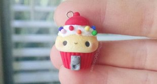 Kawaii Gumball Machine Cupcake - Polymer Clay Charm, Polymer Clay Jewelry, Jewelry, Pendant, Food Jewelry, Fake Food, Miniature, Cute