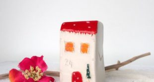 Red clay house - Valentines day gift, Handmade Tiny Home, Unique home decor gift, Celebration new home gift