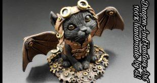 Handmade Steampunk Cat Dragon polymer clay Fimo art artwork artist