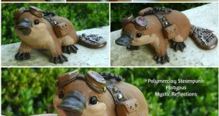 Handmade one of a kind Polymer clay Steampunk Platypus Sculpture by Mystic Refle...