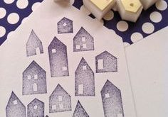 House rubber stamp set   silhouette house stamps   small hand carved stamps for diy christmas, winter crafts, card making, block printing