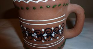 Ixtapa Zihuatanejo Cup Mug Hand Painted Textured Design Red Clay Pottery Signed ...