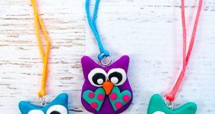 Adorable DIY Polymer Clay Owl Necklaces