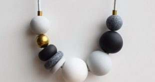 Gray Statement necklace, Black and White necklace, Handmade beaded necklace, Modern Chunky necklace, Polymer Clay necklace, Fashion jewelry