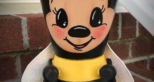 Handmade Terra Cotta Clay Pot BUMBLE BEE, Clay Pot People, Pot Heads Terrakotta-...