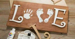 LOVE: Hand & Foot Print on wood. Perfect parent/grandparent gift for Valentines ...