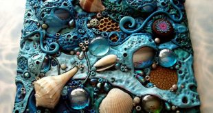 Mosaic Art Tile, Polymer clay, Found Objects, Sea Shells at Low Tide Original. $...