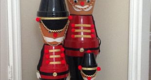 Nutcracker soldiers made from clay flower pots, they come in all sizes.