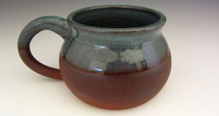 Pot Belly Mug - Turquoise on Hawaiian Red Clay - Wheel Thrown Stoneware Pottery