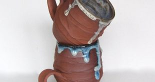 Pottery coffee mugs - blue and silver - wheel thrown in chocolate red clay with ...