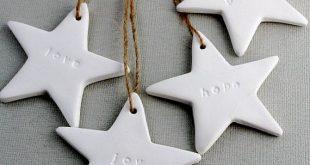 Satz von 4 handgefertigte Luft trockenen Ton Weihnachten Sterne Tags. Einfache u...