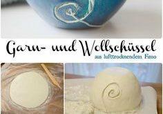 Selbstgemachte Garn- oder Wollschüssel aus lufttrocknendem Fimo, DIY Garnschale...