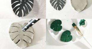 Spaß und leicht lufttrocknendes Tonhandwerk: Machen Sie einen Monstera Leaf Sch...