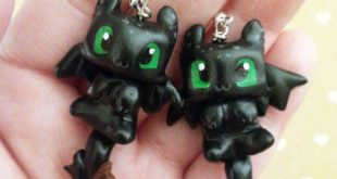 Toothless the dragon earrings Black dragon, cute fantasy creature polymer clay earrings