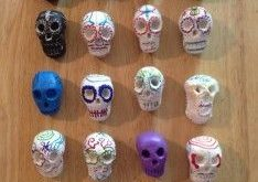 air dry clay skulls day of the dead skulls colorfully decorated for Dia de l  20...