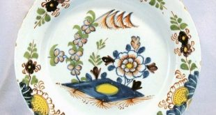 18th century polychrome delftware plate, hand-painted