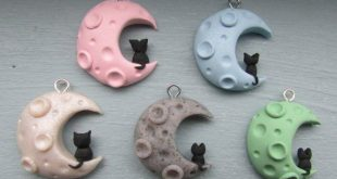 6 Colors Black Cat on a Moon Polymer Clay Charm
