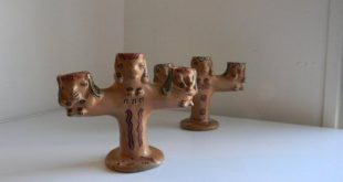 Amateur Pottery Candlesticks - Native American Style Red Clay Triple Candle Holder Pair
