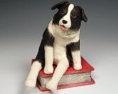 Border Collie Sitting on Red Book, original art, ceramic dog sculpture, one-of-a...