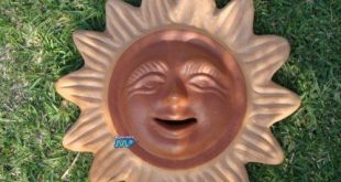 "Ceramic Sun Nice Natural Facial Look! Hand Made Plaque 13"" Mexico Art Potter..."
