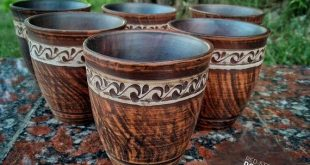 Ceramic set of cups 6pcs for wine and various drinks. Pottery Clay handmade from red clay