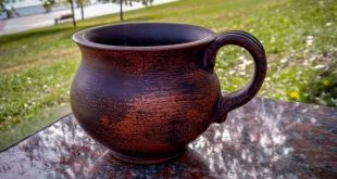 Ceramic, unique cup for tea. Pottery clay,handmade red clay
