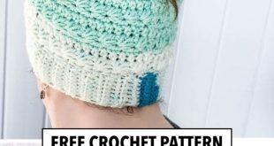 Crochet Snow Drops Messy Bun Hat - Free Crochet Pattern The Snow Drops Messy Bun...