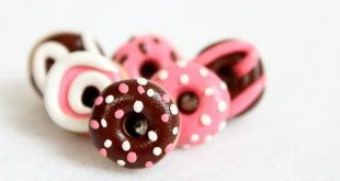 Cute Pink & Brown Donut Pushpins - Handmade Polymer Clay Donut Pushpins