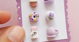 Donuts Stud Earrings Sweet Studs earrings Miniature food earrings Pink stud earrings Mothers Day Gift