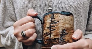 Handmade Ceramic Pottery 14-16 Ounce Coffee & Tea Mug - Hand Built - Glaze - Carved - Red Clay -Stoneware - Nature - Wabi Sabi