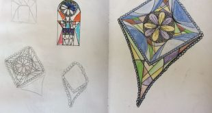 Iona, stained glass design for the Y9 Gaudi Clay Project. St Marys Catholic High...