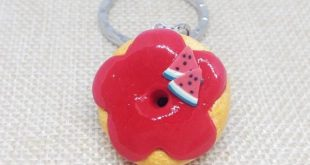 Kawaii watermelon donut polymer clay charm. The 'Tutti Frutti' Collection. Pinch push clasp, lobster clasp, keychain, swivel lobster clasp