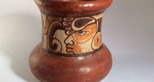 Mayan Pottery Vessel – Pre-Columbian Polychrome Mayan Design - 20th Century Pre-Columbian Revivalist - Red Clay Drinking Vessel
