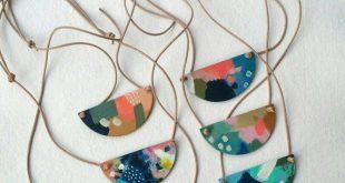 Pendant necklace - Adjustable leather cord - Hand painted pendant - Multicolor pendant