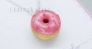 Polymer Clay Pale Pink Pearl Topped Donut Charm Necklace