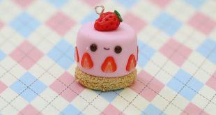 Polymer Clay Strawberry Cake Charm Tutorial
