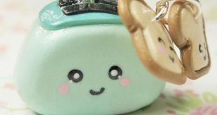 Teal Toaster Kawaii Charm Keychain Miniature Food Polymer Clay Miniature Kawaii ...