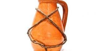 VINTAGE: Vine Wrapped Pottery Water Pitcher - Native American - Handmade Pottery - Ceramic, Red Clay Terra Cotta Pitcher - SKU 22-B-00010880