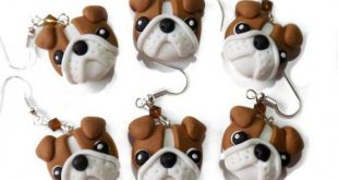 english bulldog earrings handmade in polymer clay by velvetdressx #polymercrafts...