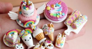 miniature clay unicorn sweets and desserts! I love the polymer clay unicorn cake...