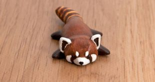 red panda polymer clay totem by lifedancecreations